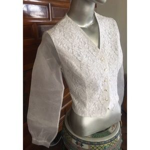 ANN FONTAINE French Organza /Lace Blouse AF2/US6-8